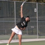 File Photo by Ilya Pinchuk | Argonaut Victoria Lozano serves the ball against La. Tech April 22 at the Memorial Gym tennis courts. Idaho won its first-round match of the WAC Championship against Utah State 4-0, but lost to Hawaii, 4-3, in the semi-finals.