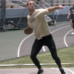 File Photo by Ilya Pinchuk | Argonaut  Senior decathalete Andrew Blaser winds up to toss the discus April 16 in the Kibbie Dome.
