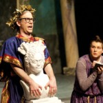 "Philip Vukelich | Argonaut Erik Jansen, playing Senex, displays a bust of his wife during the Thursday showing of ""A Funny Thing Happened On The Way To The Forum"" in the Hartung Theater. The final two showings of the University of Idaho Department of Theatre Arts comedic production will be held at 7:30, May 4 and 5 in the Hartung Theater."