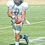 Tony Marcolina | Argonaut Vandal safety Gary Walker catches the ball during practice drills Aug. 23 on the SprinTurf. Walker and the Vandals hope to bring down EWU in the season opener at 6. p.m. Thursday in the Kibbie Dome.