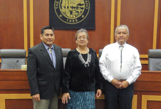Terry Townsend | Courtesy From left: Associate Justice William Platero, Associate Justice Eleanor Shirley and Chief Justice Herb Yazzie heard oral arguments and hosted a forum for Neptune Leasing, Inc. v. Mountain States Petroleum Corporation and Nacogdoches Oil March 21 in the University of Idaho Law Courtroom.