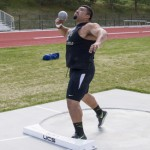 Josiah Whitling   Argonaut Freshman Juan Medina Cuence practices shot put in preparation for the Vandal Jamboree taking place this weekend. The track and field program can clinch the Commissioner's Cup for Idaho this spring.
