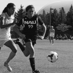 Nathan Romans | Argonaut  Sophomore forward Kavita Battan chases down a pass during Idaho's 2-1 victory over Northern Arizona University Sunday at Guy Wicks Field. The Vandals beat EAstern Washington 1-0 Sunday at Cheney, Washington.