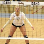 Brandon Miller | Argonaut Sophomore defensive specialist Terra Varney prepares to receive a serve during Idaho's 3-0 victory over Northern Arizona Oct.1 in Menmorial Gym. The Vandals lost 3-2 Thursday at Portland.