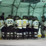 The Idaho men's club hockey team huddles during its game against Washington State Saturday at the Palouse Ice Rink. The Vandals beat the Cougars 12-6 three days after the Idaho men's basketball team beat Washington State in Pullman.