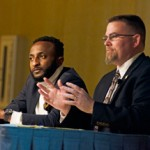 Dr. Bill L. Smith, director of the Martin Institute and Program in International Studies, right, and Ernest Danjuma Enebi, campaign engagement coordinator at AfricaResponds.org discuss the politics of ebola in Africa 7 p.m. Tuesday in the Vandal Ballroom in the Bruce Pitman Center (formery SUB).