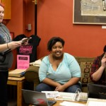 Amelia C. Warden | Argonaut Mimi Price (left) talks about her experience with an eating disorder while she works at the Women's Center on Friday, Feb. 20. Price had an eating disorder during high school, and is on her third year of recovery. Jessy Forsmo-Shadid (center) is an Argonaut columnist.