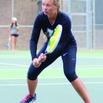 File Photo by Nathan Romans | Argonaut  Sophomore Galina Bykova returns a volley during practice Oct. 1 at the Memorial Gym tennis courts. Bykova and the Vandals went 2-0 with two Big Sky wins over the weekend.