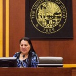 Jackson Flynn | Argonaut  Karen Condon, Colville tribes program manager, talks about tribal research protocols Monday in the College of Law courtroom. She was one of the speakers in this year's Native American Law Conference.