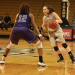 Yishan Chen | Argonaut  Idaho junior Connie Ballestero finds her way blocked by Weber's Zakiyyah Shahid-Martin during Thursday's game in the Cowan Spectrum.