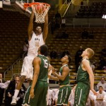 Junior forward Paulin Mpawe dunks on Portland State Feb. 12 in the Cowan Spectrum. The Vandals play Eastern Washington Thursday in the first round of the Big Sky Tournament.