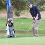 Sophomore Jared du Toit chips onto the green during qualification for the Price Give Em Five Intercollegiate Oct. 14. The Idaho men's golf team concluded the regular season with a second-place finish Sunday at the Hawkeye-Great River Entertainment Invitational.