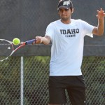 Senior Cristobal Ramos Salazar returns in a volley during practice Sept. 24, at the Memorial Gym tennis courts. Ramos Salazar is one of three Vandals being honored Saturday for Senior Day.