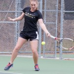File photo by Nathan Romans | Argonaut  Senior Sophie Vickers returns a volley during practice Nov. 5, at the Memorial Gym tennis courts. Vickers and the Vandals play Montana Friday and Montana State Sunday for Senior Day.