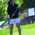 Nathan Romans | Argonaut Senior Leilanie Kim practices her short game during practice Thursday.  Kim finished ninth in the Ptarmigan Ram Fall Classic at Colorado State University shooting 218, +2.